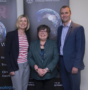Gillian Bruce with Edinburgh University's Dr Heather Ellis and Edinburgh Eye Pavilion glaucoma consultant Dr Andrew Tatham