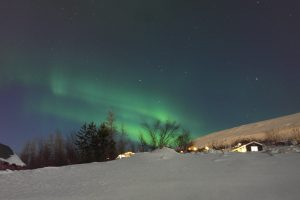 aurora borealis stars and green lights in snow